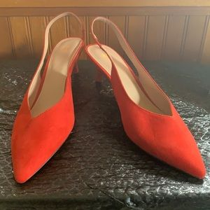 H&M Red Slingback Pointed Kitten Heels - Size 40